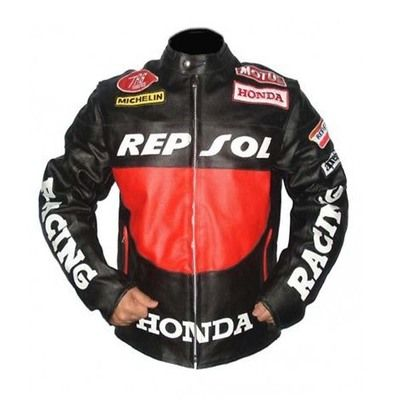 Two Tone Black Red Honda Repsol Michelin Motul Motorbike Genuine Leather Racing Jacket from Robleatherseller