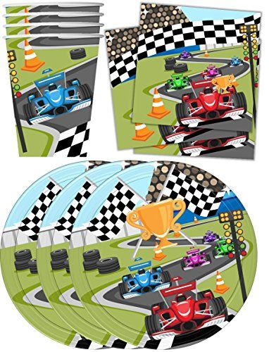 Great for younger children during snack time.    Race Car Racing Birthday Party Supplies Set Plates Napkin...