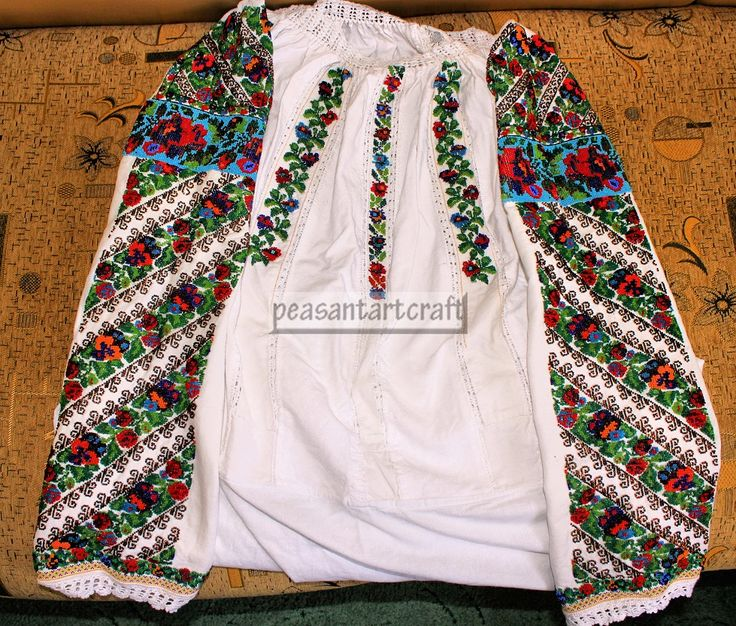 #Handmade #folk #hippie #floral #pattern blouse with a plenty of beads.