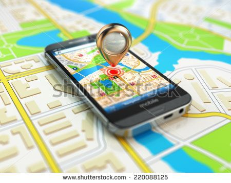 Mobile GPS navigation concept. Smartphone on map of the city, 3d - stock photo