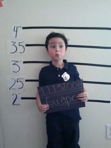 mugshots!... At a police themed birthday party