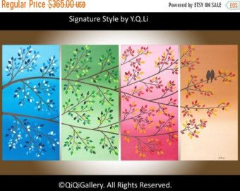 Art painting Contemporary wall art love birds art by QiQiGallery