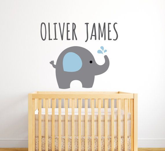 Elephant Wall Decal Personalized Name Wall By PinkiePeguinShop