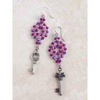 Crystal Key Earrings $2.80 #Beading #SidewalkSale Ends June 23, 2013