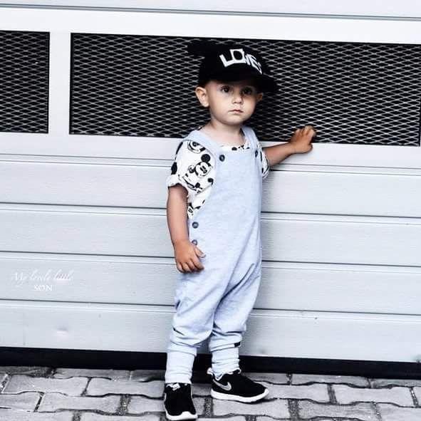 BabyBoy in grey overalls <3 #overalls #grey #lovely #cute #long #cotton #comfy #boyslook #girlslook