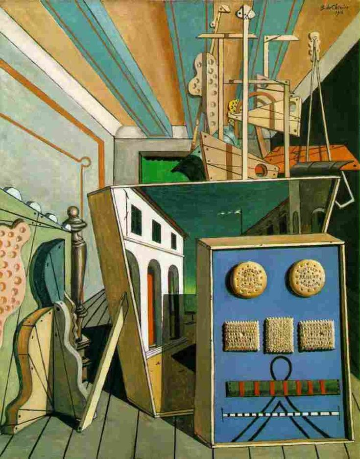 """Metaphysical Interior with Biscuits"" (1916), by Giorgo de Chirico. Oil on canvas; Metaphysical art (Surrealism); The Menil Collection, Houston, Texas"