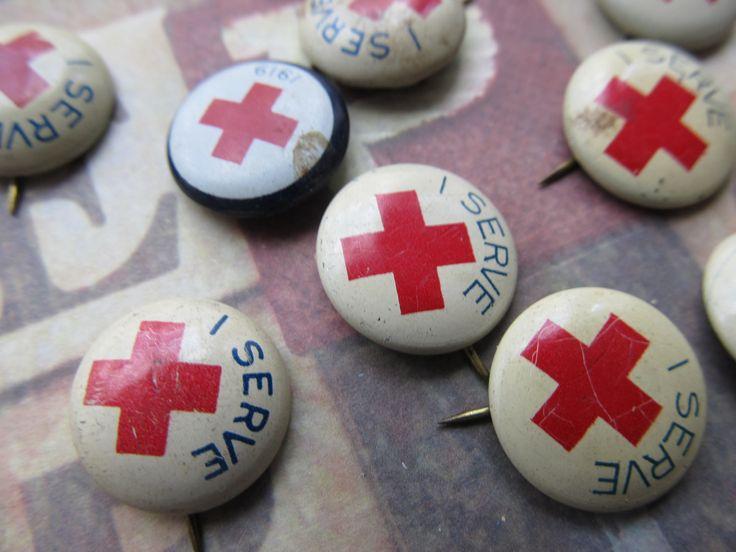 "Vintage Red Cross ""I Serve"" Pin, via Etsy."