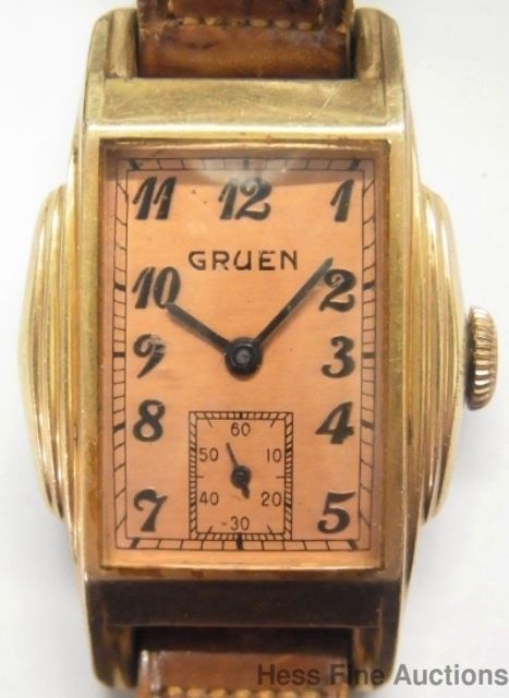awesome very retro deco curved 1930s gruen mens leather band wrist watch gruen vintage. Black Bedroom Furniture Sets. Home Design Ideas