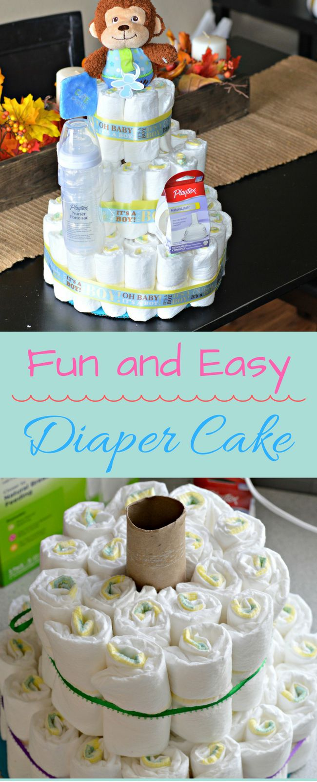 This Diaper Cake is so fun and easy to make and would make a perfect gift at your next baby shower. Check it out on the blog now! #BetterBottles #Ad