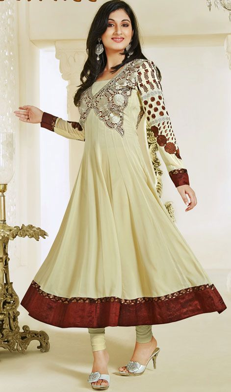 Cream Embroidered Georgette Long Anarkali Suit Price: Usa Dollar $98, British UK Pound £58, Euro73, Canada CA$106 , Indian Rs5292.