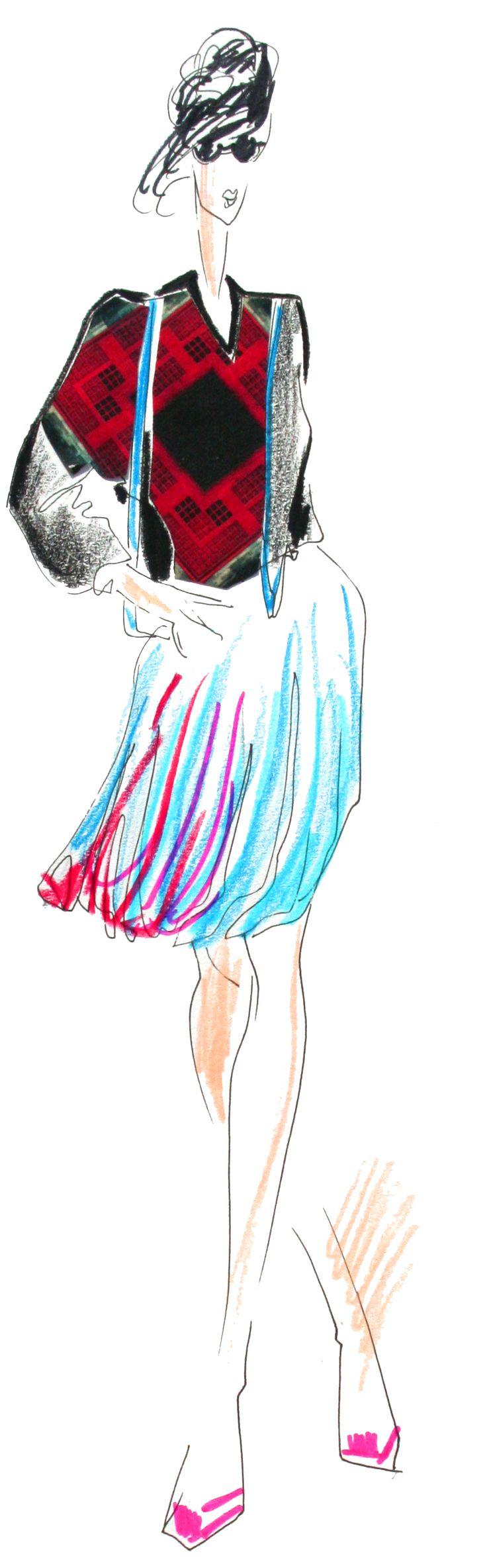 #22 Knitted jumper/Silk Skirt