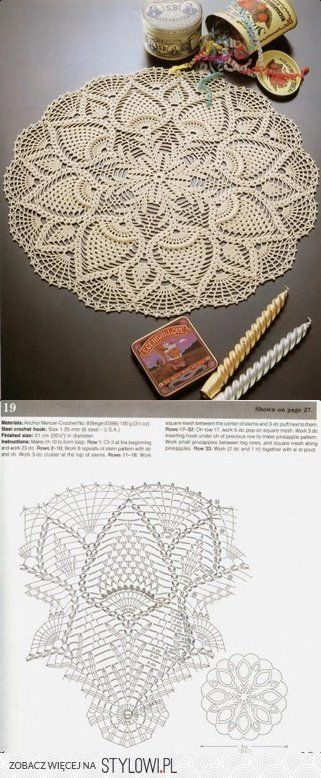 Crochet / tablecloth - pineapple on Stylowi.pl