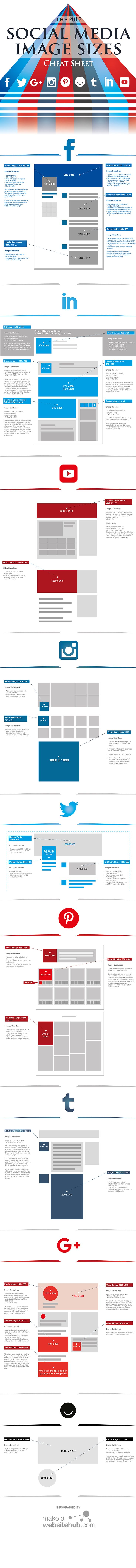 Social Media Image Sizes - An up to date reference for image sizes on all the popular social media websites. Source: makeawebsitehub.com