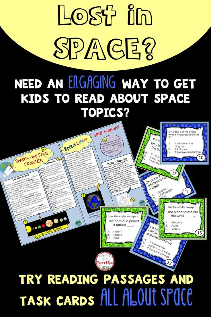 Reading passages in the form of a magazine and task cards featuring non-fiction text features! All about Space topics! Great for centers, sub days, and more!