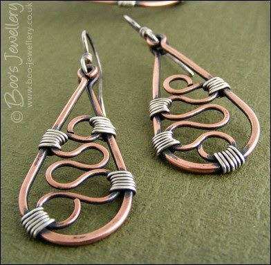 Squiggle filled teardrop earrings in copper and silver - I love the mixed metal wirework