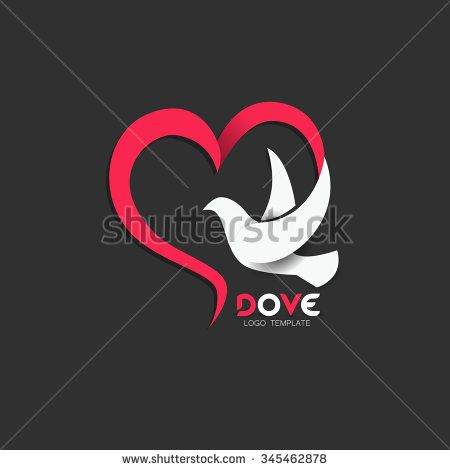 Dove Icon with Heart Shape. Logo Template - stock vector