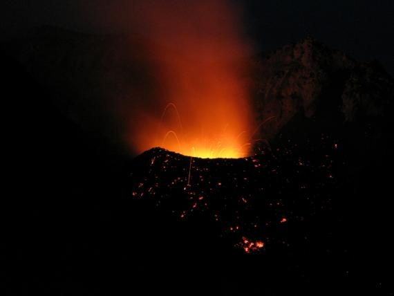 Stromboli Island located in Isola Stromboli, Italy. The 900 ft Stromboli is one of the worlds only constantly active volcanoes.