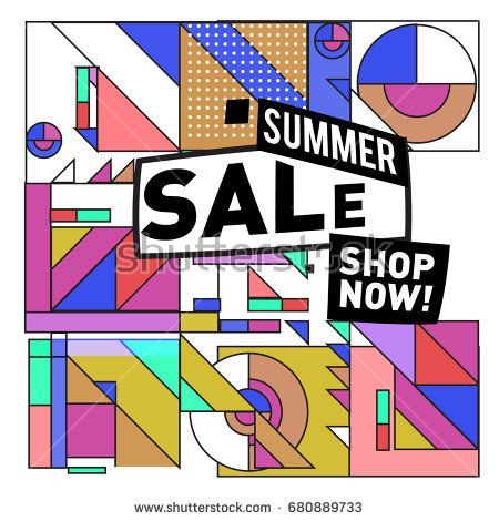 Summer sale geometric style web banner. Fashion and travel discount. Vector holiday Abstract colorful illustration with special offers and promotion.
