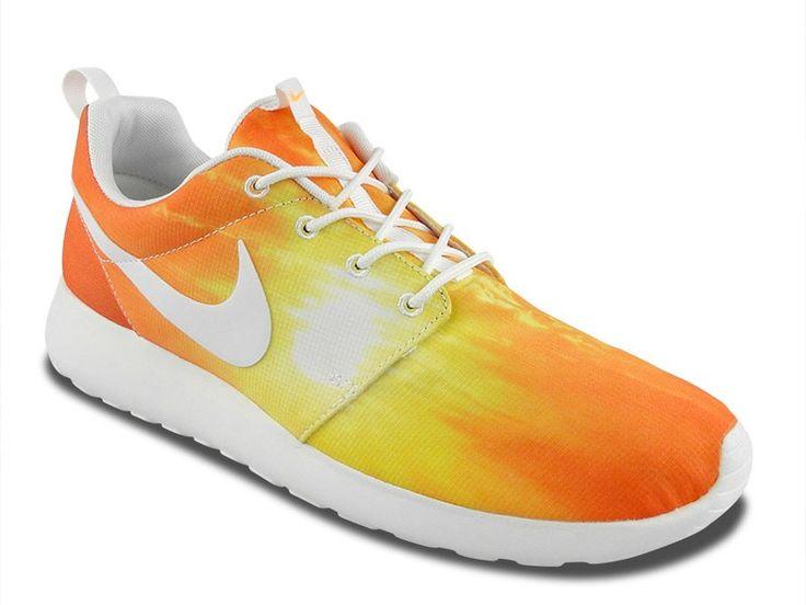 nike - roshe run flyknit turkish/orange/neon