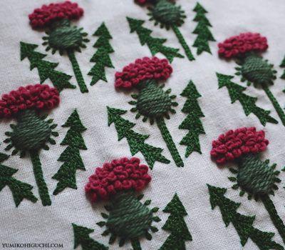 thistle by yumiko higuchi  アザミ。「wool  stitch 」に図柄が掲載。