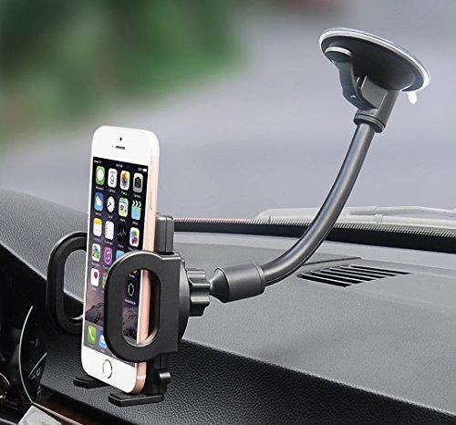 Car Mount X-AUTO One Touch Flexible Long Arm Universal Windshield Cell Phone Holder with Strong Suction Cup and Three Side Grips for Cell Phone iPhone Smartphones Android GPS Devices and More