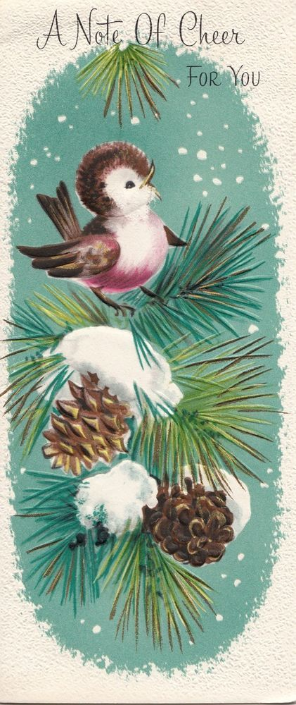 """Perched on pine-coned evergreens, a little birds sings """"a note of cheer for you...: ~ vintage Christmas greeting card - (vintage, snowy)   http://www.ebay.com/itm/Vintage-Greeting-Card-Christmas-Bird-Pine-Cones-I046-/390827568999?roken=cUgayN"""