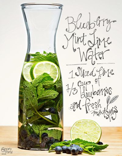 Blueberry Mint Lime infused water | Smarty Had A Party