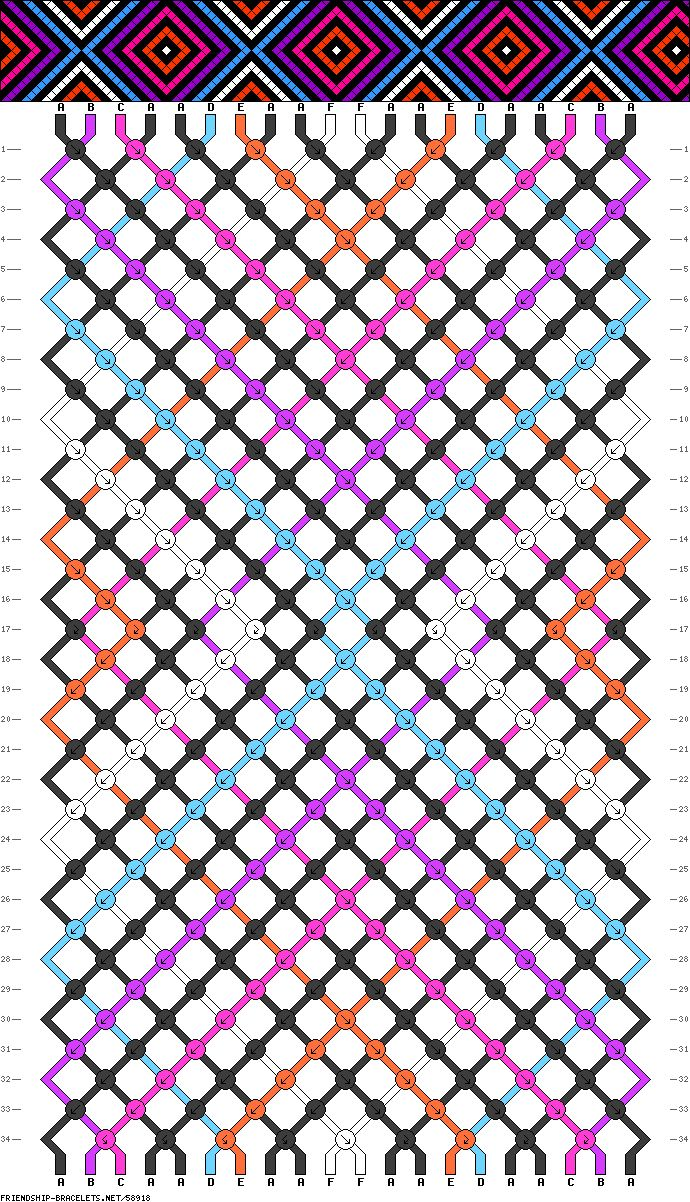 Friendship Bracelet Pattern #58918 I Could Probably Figure It Out On My  Own, But
