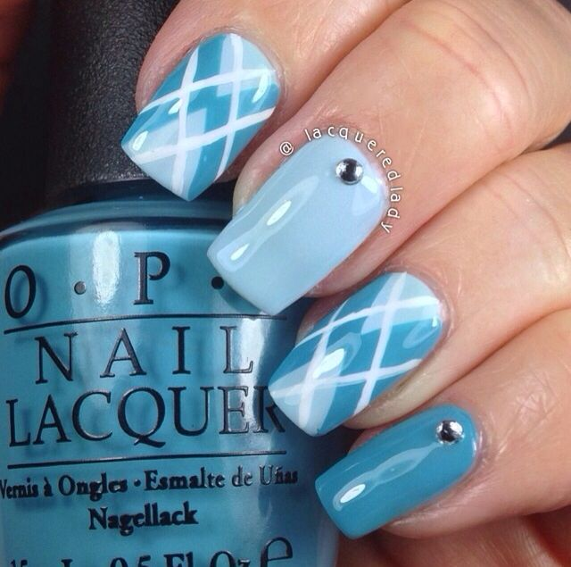 Blue argyle nails