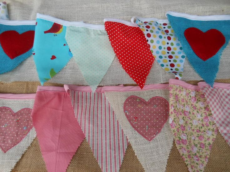 """Hessian flags combined with cotton gives the bunting a """"country"""" feel!"""
