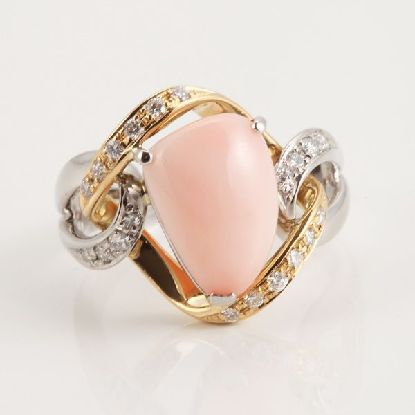【GINZA PARIS】Pt900 K18 珊瑚 戒指/128,000日元