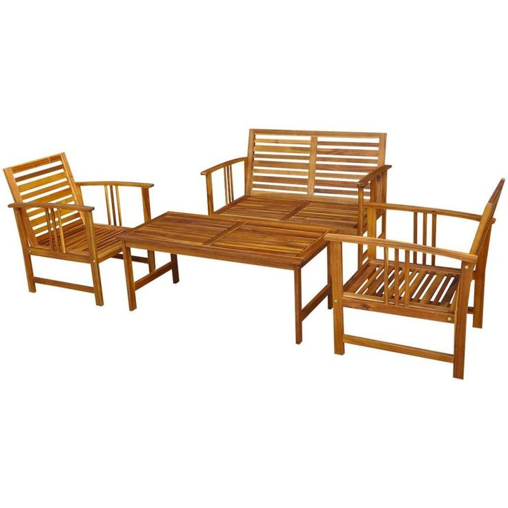 Wooden Garden Furniture Set 4pcs Outdoor Patio Coffee Table Bench And 2 Chairs