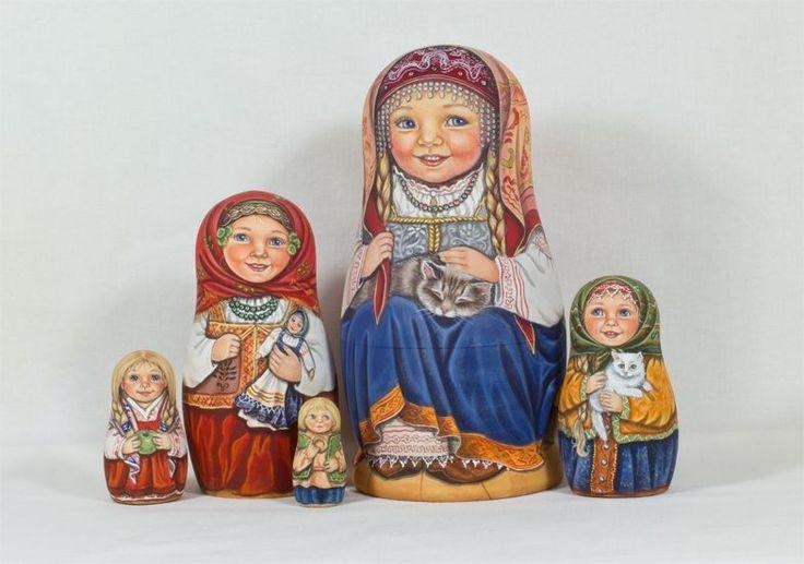 """Матрешка из 5 шт, 6,3 дюймов. """"народное платье и кошки"""" к """"lida-studio""""   Куклы и мягкие игрушки, Куклы, По типу   eBay!"""