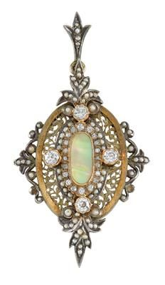 A demi-pearl and old-cut diamond medallion