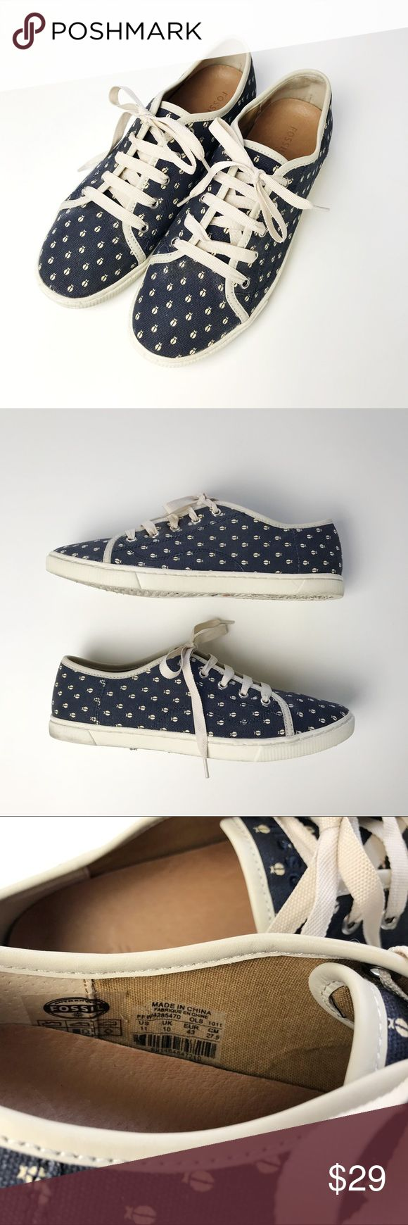 Fossil Blue Ladybug Print Lace Up Sneakers Fossil Blue Ladybug Print Lace Up Sneakers *Size Womens US 11 *Lace up style / Blue body with white ladybug allover prints / Fabric upper  *In great pre-owned condition. Mainly wear on the bottom of shoes. No damages or flaws. *No trade Fossil Shoes Sneakers