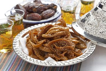 Chebakia honey cookies and dates