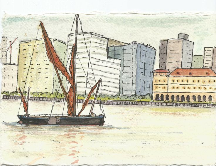 An ink and watercolour painting of a Thames sailing Barge against a modern city background