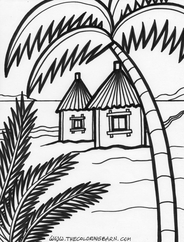 island coloring 6jpg 10001315 pixels summer coloring pagesbeach - Palm Tree Beach Coloring Page