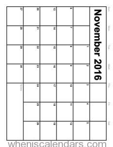 November 2016 Calendar Printable Monthly Blank Calendar 2016 Template (Portrait Template 1). Size: 1800 x 2329. Click on image to view full size and print Calendar.