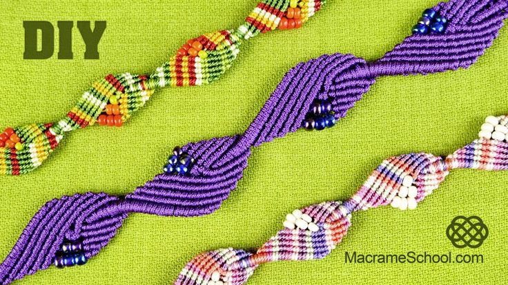 Diamond Leaf Bracelet - Macrame Tutorial 1 or .5 mm cord seed beads