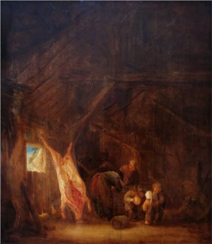 A Barn Interior with a Slaughtered Pig, Children Playing Beyond - Isaac van Ostade