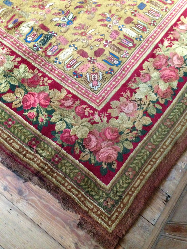 Detail * English Wilton Carpet c 1830. Oriental/Floral/Geometric