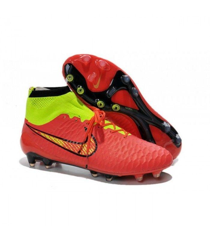 Acheter Nouveau Chaussures de Football Nike Magista Obra FG Rouge Vert pas cher en ligne 113,00€ sur http://cramponsdefootdiscount.com