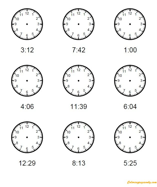 Kids Clock One Minute Intervals Coloring Page - Coloring Pages For Kids And Adults:  Look at the time for each of clocks below and draw the hour and minute hands on the clock correctly. And then color for these clocks, this coloring page will help kids tell time in 1 minute intervals.   http://coloringpagesonly.com/pages/kids-clock-one-minute-intervals