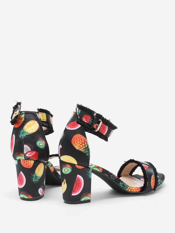 Shop Fringe Trim Fruit Print Heeled Sandals online. SheIn offers Fringe Trim Fruit Print Heeled Sandals & more to fit your fashionable needs.
