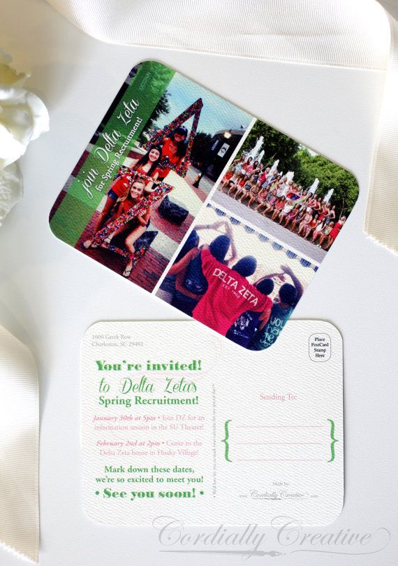 Sorority Recruitment Postcard with picture collage by cordially, $1.25