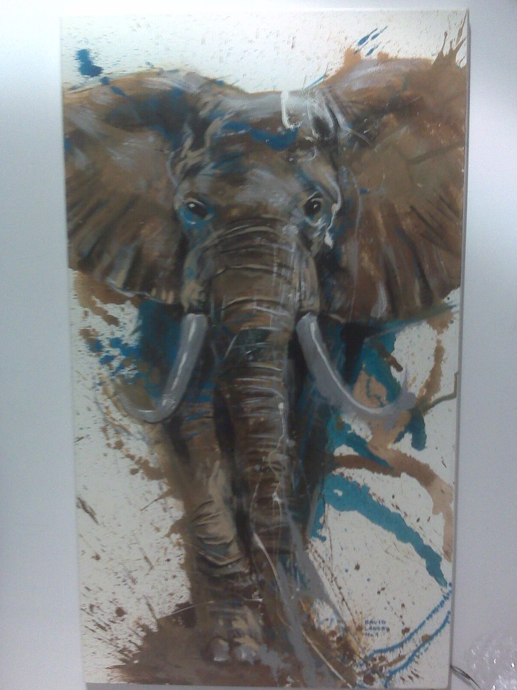 This elephant painting would work so well on the brick wall in my client's living room. It also uses the neutral colours and then a splash of blue which works very well with the mood of the room.