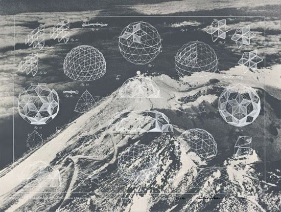 Escaping the ground: Buckminster Fuller, Laminar Geodesic Dome, United States Patent Office no. 3,203,144.