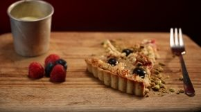 Luke and Scott: Spelt, Berry & Macaroon Tart with Crème Anglaise