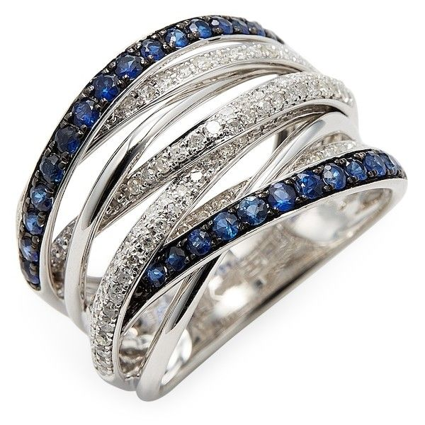 Effy Women's 14k White Gold Diamond and Natural Sapphire Ring -... ($995) ❤ liked on Polyvore featuring jewelry, rings, silver, white gold diamond rings, white gold rings, sapphire diamond ring, wide silver ring and sapphire rings